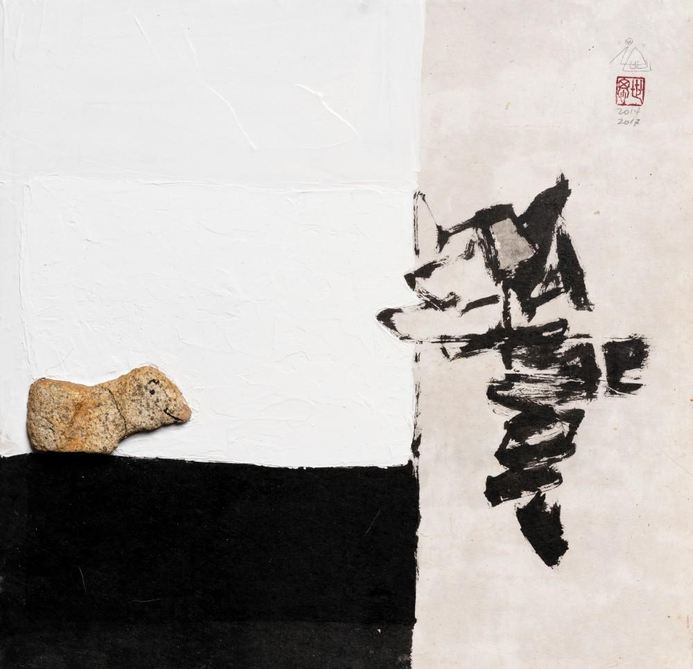 무제_Ink, acrylic, stone on Korean mulberry paper_61 X 63cm_2017