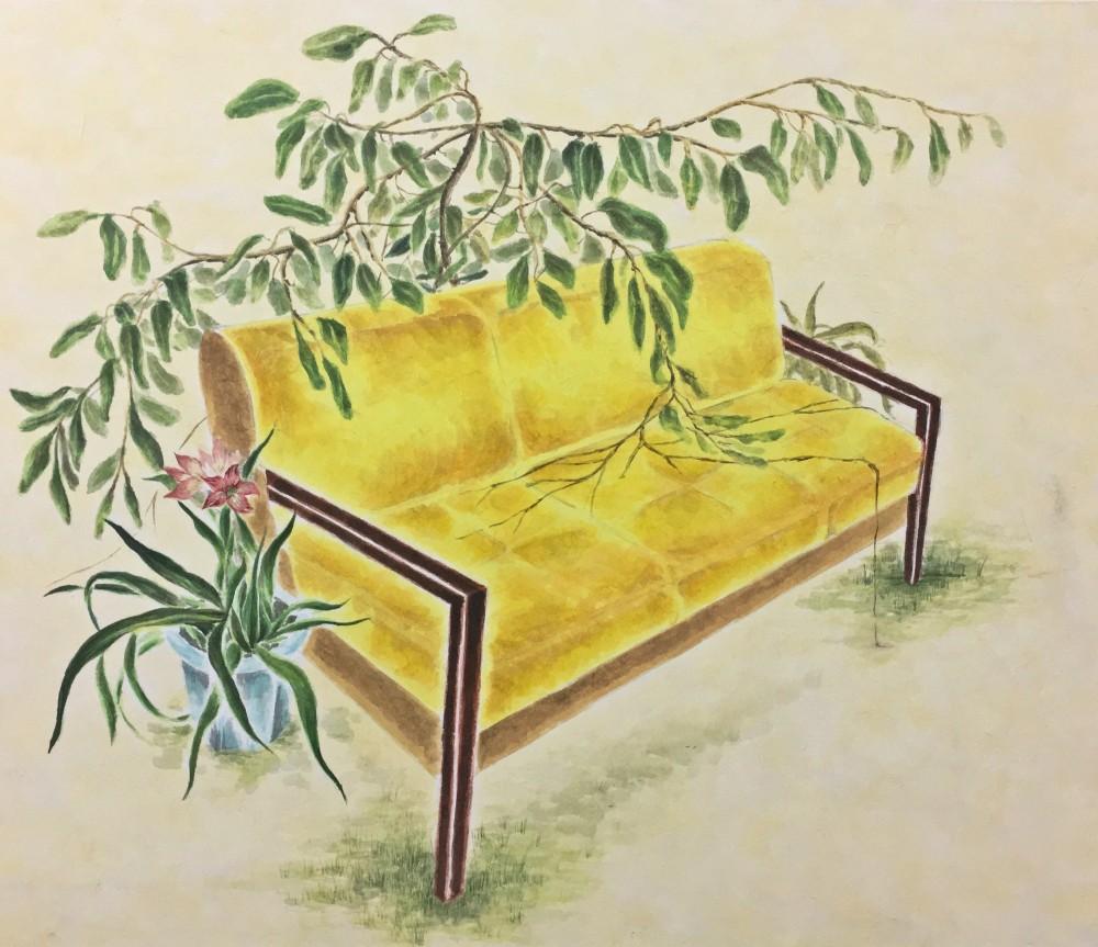 김지니_Yellow chair_50.5 x 53cm_장지에 채색_2018